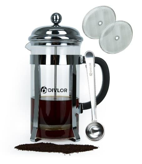 French Press Cold Brew Coffee Maker - 34 Ounce, 8 Cups, Clip Spoon and 2 Bonus Filter Included By Divlor