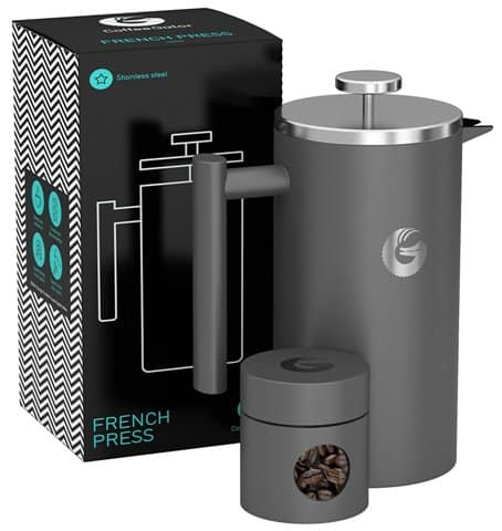 Large French Press Coffee Maker – Double Filter, Vacuum Insulated Stainless Steel By Coffee Gator