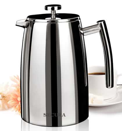 Secura 1500ML French Press Coffee Maker, 50-Ounce (12-cup), Stainless Steel 18/10