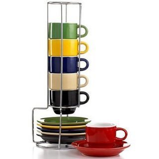 Gibson Stackable demitasse cups with stand